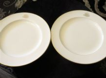 "2 X ANTIQUE GILDED RIM MINTONS 10"" DINNER PLATES GOLD MONOGRAM R de D S4539 9"